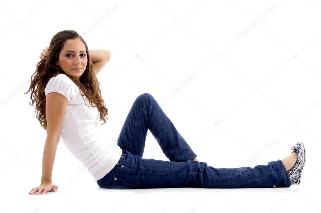 Beautiful Young Model Sitting On Floor Stock Photo 1664388