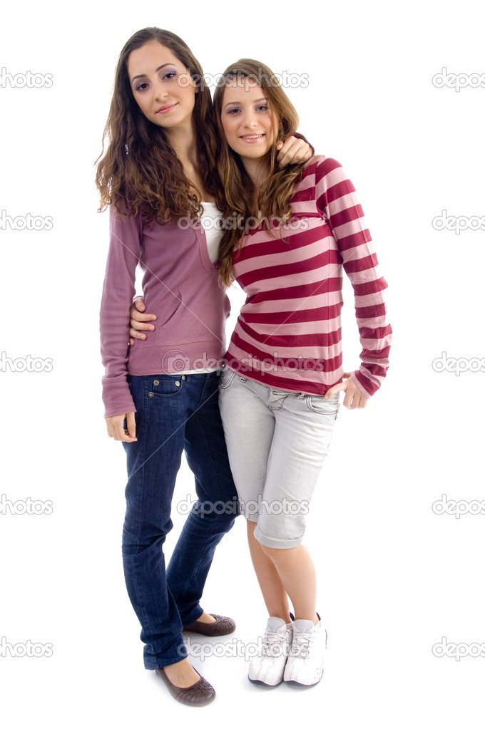 Young two friends standing together with white background  Stock Photo #1664451