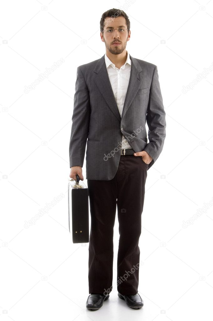 Handsome businessman standing with his office bag on an isolated white background — Stock Photo #1666312