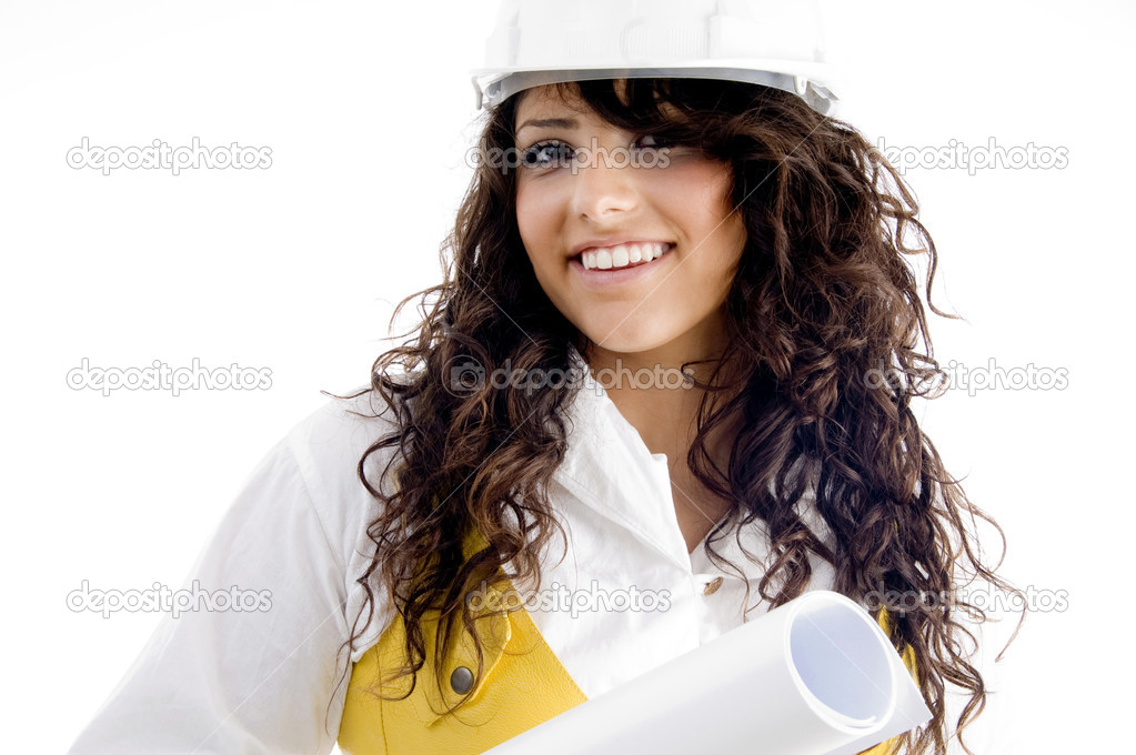 Young female executive giving pose with smile on an isolated background — Stock Photo #1667280