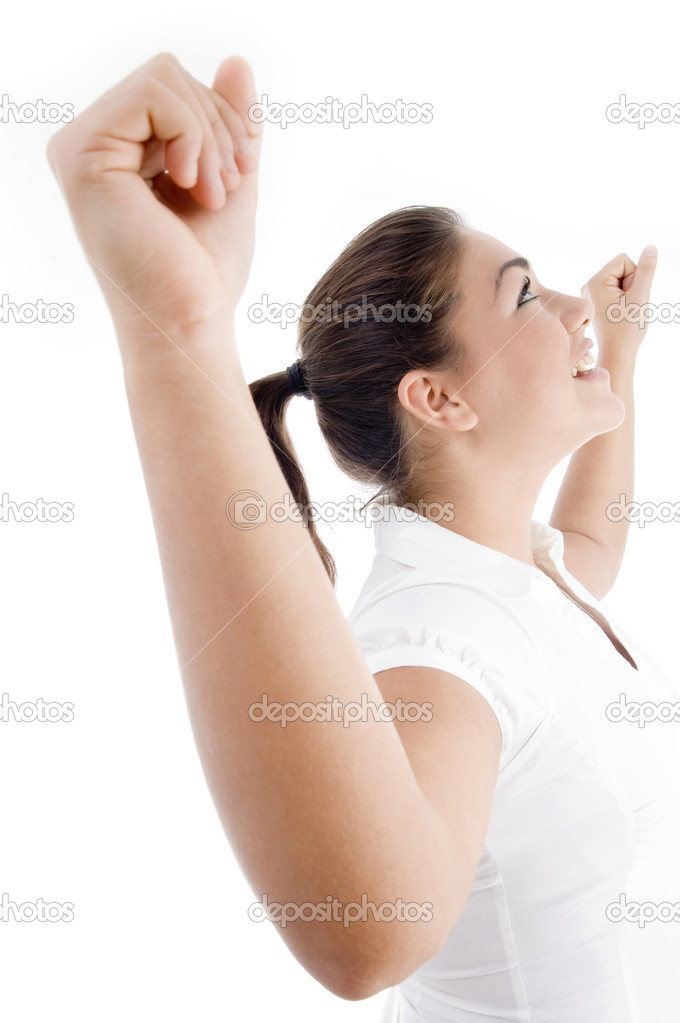 Young attractive woman with outstretched arms against white background — Stock Photo #1667486