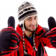 Young man in woolen outfit, thumbs up — Stock Photo #1670045