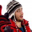 Fashionable guy in winter cap, close up — Stock Photo