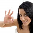 Portrait of female showing ok sign — Stock Photo