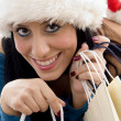 Christmas woman holding shopping bags — Stock Photo