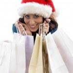 Christmas woman holding shopping bags — Stock Photo