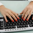Female hands working on keyboard — Stock Photo