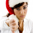 Disappointed woman in christmas hat — Stock Photo #1671795