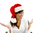 Female executive wearing christmas hat — Stock Photo