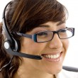 Cheerful female customer care executive — Photo