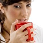 Female accountant drinking coffee — Stock Photo #1672030