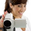 Female shooting with handy camera — Stock Photo #1672037