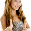 Smiling teenager student with thumbs up — Stock Photo #1672342