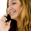 Closeup of happy girl talking — Stock Photo