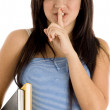 School girl instructing to keep silence — Stock Photo #1672484
