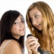 Smiling young models singing in mic — Stock Photo
