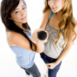 Royalty-Free Stock Photo: High angle view of young girls with mic