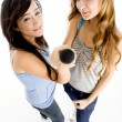 High angle view of young girls with mic — Stock Photo