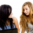 Caucasian female students busy talking — Stock Photo #1672623