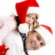 Father and daughter smiling at camera — Stock Photo