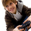 Amused boy playing videogame — Stock Photo
