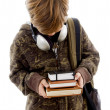 Постер, плакат: School boy with books and headphones