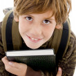 High angle view of smiling school boy — Stock Photo