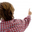 Back pose of boy pointing — Foto de Stock