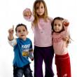 Pointing sweet little children — Stock Photo