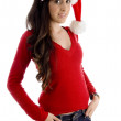 Young woman wearing christmas hat — Stock Photo