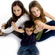 High angle view of brother and sisters — Stock Photo