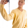 Handsome guy clicking his snap — Stock Photo #1675119
