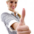 Smiling woman with thumbs up - Stock Photo