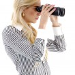 Businesswoman hunting for success — Stock Photo