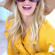 Glamorous woman with hat and sunglasses - Stock Photo