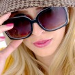 Close up of model wearing sunglasses — Stock Photo