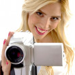 Happy woman with handy cam — Stock Photo