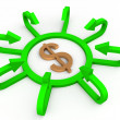 3d dollar sign surrounded by arrows - Stock Photo