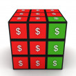 3d cube of dollar — Stock Photo