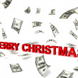 3d merry christmas text wih dollars — Stock Photo