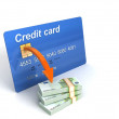 Royalty-Free Stock Photo: 3d credit card with bundle of currency