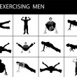 Men doing exercise, various poses — Stock Photo