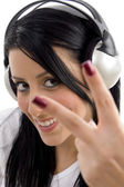 Gorgeous young female tuned in music — Stock Photo