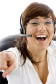 Cheerful service provider pointing — Stock Photo