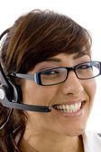 Detailní záběr úsměvem poskytovatele služeb — Stockfoto