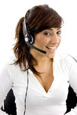 Cheerful female service provider — Stock Photo