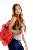 Teenager girl with school bag — Stock Photo