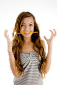 Excited teenager student posing — Stock Photo