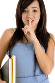 School girl instructing to keep silence — Stock Photo