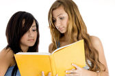 Young classmate looking in book — Stock Photo